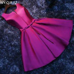 Robes de demoiselles d'honneur coréens en Ligne-PTH-HJZY69 # Short lace up nouvelle robe de soirée banquet coréenne demoiselle d'honneur robes pourpre rouge robe blanche en gros