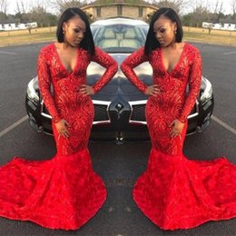 2020 nero t ragazze raso 2020 Black Girls fiori di raso 3D Abiti da sera maniche lunghe africano sweep treno Prom Gowns Masquerade BC3423 nero t ragazze raso economici