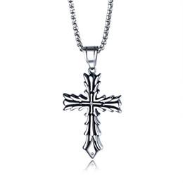Croce religiosa antica online-Gioielli Religiosi Hip Hop Punk Rocked Antique Croce Pendenti Collana in acciaio inox