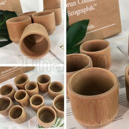 Copos de chá do estilo japonês on-line-Mais novo Handmade Natural Bambu Xícara De Chá Estilo Japonês Xícaras De Leite De Cerveja Com Alça Verde Eco-friendly Artesanato de Viagem T2I230