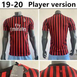uniformes ac milan Rebajas 19 20 Versión jugador AC Milan Soccer Jersey 2019 Home Camiseta de fútbol PIATEK PAQUETA SUSO ROMAGNOLI CALHANOGLU CUTRONE KESSIE Uniformes de fútbol