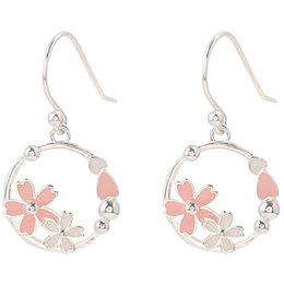 Orecchino di ciliegia coreano online-Orecchini Loop Cherry Blossom Orecchini Pure Silver Girl Heart Earhook Temperament Studenti coreani Set di semplici orecchini