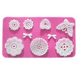 2019 padaria flores Silicone Mold Mold Bolo Lace Mat Fondant bolo decoração ferramentas flor do casamento da curva de borboleta Coração Embossing Mold Bakery desconto padaria flores