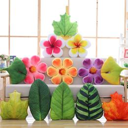 Argentina 23 cm pequeña flor fresca almohada jardín pastoral hojas verdes para la decoración casera de algodón cojín para niños juguetes cheap green toys flowers Suministro