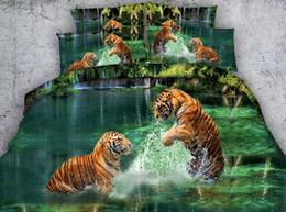 2019 california king size juegos de cama 3d Aqua 3D verde Tigre sistemas del lecho La impresión animal colcha edredón hoja colchas cubierta de cama ropa de cama tamaño California King Queen doble 4PCS california king size juegos de cama 3d baratos