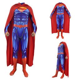 Argentina Tamaño asiático Unisex Adultos Niños Superman Avengers Superhéroe 3D Músculo Cosplay Fiesta Zentai Jumpsuit Mono Catsuit Body Suministro