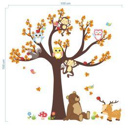 Karikatür Orman Hayvan Baykuş Maymun Büyük Ağaç Duvar Sticker Yatak Odası Oturma Odası çocuk Odası Yeşil Dekoratif Duvar Sticker supplier big animal wall stickers nereden büyük hayvan duvar çıkartmaları tedarikçiler