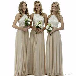 simples vestidos de boda largos invitados Rebajas elegantes damas de honor largas sencillo vestido 2020 nueva joya de la gasa de un vestido de novia de línea de invitados para la fiesta vestido de festa
