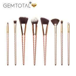 2019 outils de polissage 8pcs Rose or pinceaux de maquillage Set Powder Foundation polissage ligneur ombre à paupières sourcils Lip Blush pinceaux de maquillage outils