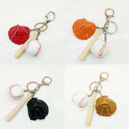 Bat keychains online-DHL libre Juego de guantes de bate de béisbol Llavero Llaveros creativos Mini llavero Bolsa de deportes Teléfono móvil Colgante de coche para mujeres Hombres 4 colores G633Q F