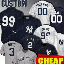 Camisetas de bebé ruth online-Yankees de Nueva York jerseys de encargo 2 Derek Jeter 99 Aaron Juez Jersey 3 Babe Ruth 25 Gleyber Torres 23 Don Mattingly 77 Clint Frazier