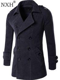 Estilo de casaco de lã dos homens on-line-NXH 2018 Outono Inverno Jaqueta Casaco de Lã Dos Homens Inglaterra Estilo Double-Breasted Marca de Moda Mens outwear casaco de Misturas De Lã
