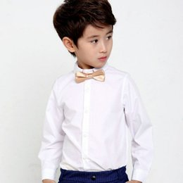 camisa preta do colar dos miúdos Desconto New preto branco Meninos Adolescentes camisas da escola Camisa para meninos Turn Down shirt Collar para meninos e mais um garoto velvt Roupa adolescentes 6 8 10 12 14 Ano