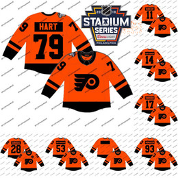 2021 дешевые трикотажные изделия стадиона Lady and Youth 2019 Stadium Series Jerseys Philadelphia Flyers 28 Claude Giroux 79 Carter Hart 100% Stitched Ice Hockey Jerseys Cheap S-XXL