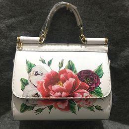 Cuoio di stampa in vacca online-Famosa marca Premium Luxury Lady Bag Fiori Stampa Platinum Tote Borse bianche femminili Genuine Cow Leather Handbag / Shoulder Bags
