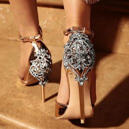 Women Crystal Glitter Sandals Pump 2019High Heels 11CM Sandals Lady Chic  Cover Heel Party Sexy Shoes 014C1195 -4 f987676230e5