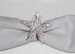 estrella de mar para decoracion Rebajas Envío libre al por mayor 20 unids / lote Rhinestone Starfish servilleta anillo servilleta Holder Wedding Decoration Party Favor LSNR017