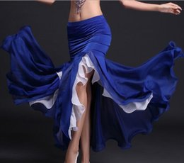 fantasias de dança azul vermelho branco Desconto Mulheres Dança Do Ventre Saia Tribal Borda de Lótus Dancer Costumes Maxi Saia Sereia Vestido Roxo Azul Royal Vermelho Branco Frete Grátis