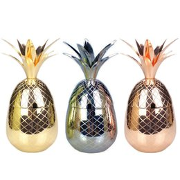 garrafa de champanhe flor Desconto Pineapple Mule Mugs Metal Beer Copper Mug Stainless Steel Cup Cocktail Cup Drinking Bar Tool RRA574
