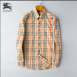 camisa de seda plateada para hombre Rebajas Camisa a cuadros autocultivo de la marca estadounidense 2019, diseñador de moda, camisa de manga larga de algodón, camisa casual a rayas, camisa de vestir 99