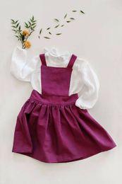 Camisas roxas para crianças on-line-Bebés Meninas Kids Clothing Set comprida feminina Branca T-shirt Tops + Strap roxo saia geral Outfit Vestem roupas Conjuntos