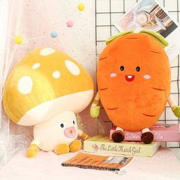 materiais montessori atacado Desconto Novo Bonito Kawaii Macio Cogumelo Travesseiro Criativo Brinquedo de Pelúcia Rabanete Boneca das Crianças Presentes de Presente de Almofada Para As Crianças