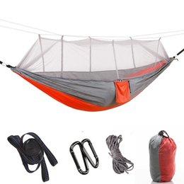 Poco costoso all'ingrosso di nylon esterna Beach swing viaggio Garden del doppio di modo portatile Albero campeggio amaca con zanzariera, 260 * 140CM da