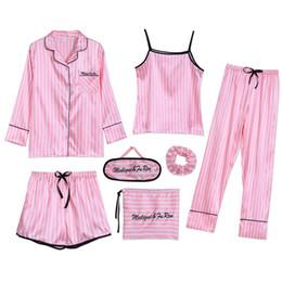 Pijamas mulheres bonitos on-line-Sleepwear 7 Peças Conjunto de Pijama 2019 Mulheres Outono Inverno Verão Sexy Pijama Define Ternos Do Sono Macio Doce Bonito Nightwear Presente Casa roupas