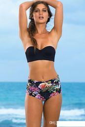 2016 Bikini a vita alta con stampa floreale Set Trikini Donna Ragazza Costumi da bagno Costume da bagno Costume da bagno Costumi da bagno POLOVI SJ16040BK0 da beachwear delle ragazze fornitori