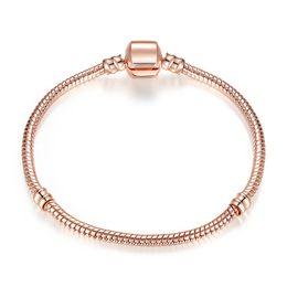 Vergoldeten pandora armbänder online-Authentische Silber überzogene Schlangenkette 18K Rose Gold 3mm Schlangenkette Armband für Pandora Silber Charms europäischen Perlen Armband DIY Schmuck