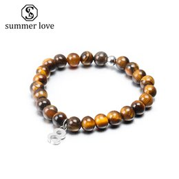 new eye ring men fashion Promo Codes - New 8MM Tiger Eye Natural Stone Beads Bracelet for Women Men Handmade Titanium Steel Number 8 Charm Bracelet Fashion Jewelry Gift