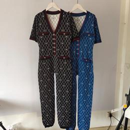 mulheres do bodysuit do laço da luva cheia Desconto Primavera 2020 cartas High Street Mulheres malha Macacões Moda tricô de manga curta Bodysuits roupa