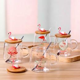Tampa da garrafa de água de vidro on-line-Garrafa De Água de vidro Flamingo Criativo Coberto Ins Tumbler Coberto Suco de Chá Canecas de Café Personalidade Originalidade Adorável 9 7rq C1