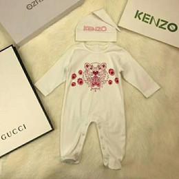 2019 animal raposa cinza 2 pcs set baby boy gir romper tigre impresso macacões recém-nascidos crianças coverall / romper crianças marca clothing frete grátis