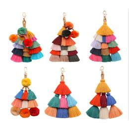 Canada Style de mode Bohème À La Main Sac Pendentif Femmes Accessoires Charme Pompon Porte-clés Multicolore Avec Glands Cadeau Pour L'été Offre