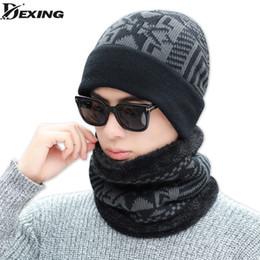 Chapéu de inverno Conjunto para Homens Gorros Máscara de Lã Pescoço Quente Pai Cap Pescoço Warmer Gorros Para Os Homens Skullies Beanie Hat Xmas presente de