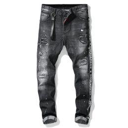 Da Uomo Designer Skinny Super Stretch STRAPPATO DISTRUTTO FASHION ANGOSCIA Denim Jeans
