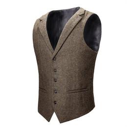 VOBOOM Gilet di lana Tweed Gilet da uomo Gilet Khaki Grigio a spina di pesce Gilet da uomo Gilet da sposa 018 da uomini vestiti di khaki vestito fornitori