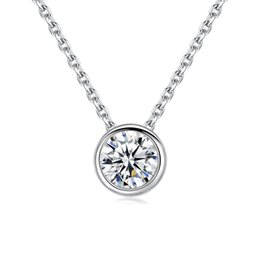 Небольшие цепные цепи онлайн-White Gold Color Plated Simply Small Round 1 Cubic Zirconia Pendant Link Chain Necklaces for Women Fashion Wedding Jewelry