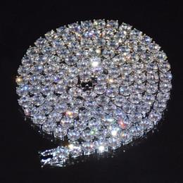 Reihen-diamanten online-Diamant Tennis Kette Halskette Hip Hop Schmuck 4mm Iced Out Zirkon 1 Row Gold Silber Kupfer Material Männer CZ Halskette Link 24 Zoll