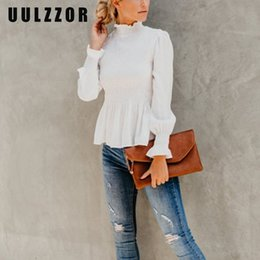 Простые простые длинные блузки онлайн-UULZZOR White blouse women long sleeve Solid Elastic Blouse Shirts Top Turtleneck Casual Simple Elegant Top Femme Spring