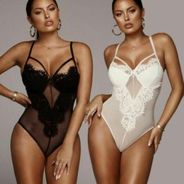 6f5789263a6 Women Mesh Lace Bodysuit Lingerie Sleeveless V Neck Stretch Leotard  Jumpsuit Top