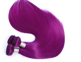 Trama del pelo humano del color púrpura online-100% de extensión de cabello humano real Trama de cabello remy indio 100g / pc máquina de color púrpura duda tejiendo