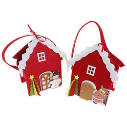 home decor house parties Promo Codes - NEW 3D Stereo House Gift Bag Christmas Tree Snowman Santa Claus Elk Candy Bag Handbag Christmas Supplies Home Party Decor