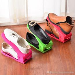 espelhos de exibição grossistas Desconto Ajustável sapato Rack Hot Sale Família Use Double-layer sapatos Integrado rack simples suportes de sapata plástico puro sapatos de armazenamento Cor Bandeja BH0077