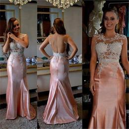 Fashion Girl Pageant платье Jewel шея Cap рукав Аппликация Пайетка Backless сатин Розовая Русалка Особый Случай Вечерние платья партия от