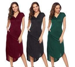 Sprengkragen online-New Amazon Mode explosive V-Kragen Knopf Tasche unregelmäßigen Stretch-Kleid im Frühjahr und Sommer 2019