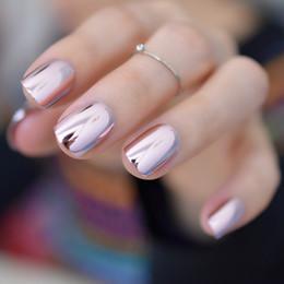 Canada Métal de placage en métal rose clair léger de miroir réfléchissant astuces français acryliques de faux ongles carrés métalliques de faux ongles sans colle à ongles Offre