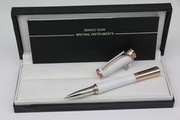 Gnadengold online-Hochwertige Monaco Princess Grace Kelly Monte Marken Roller Kugelschreiber Weiß Körper mit Rose Gold Trim Schule Büromaterial