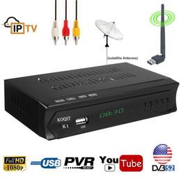 Wifi youtube box on-line-Receptor de Satélite KOQIT K1 Decodificador de TV Digital DVB S2 Satélite Receptor de Satélite DVB-S2Tuner IPTV m3u USB Wi-fi Youtube Biss vu Cccamd